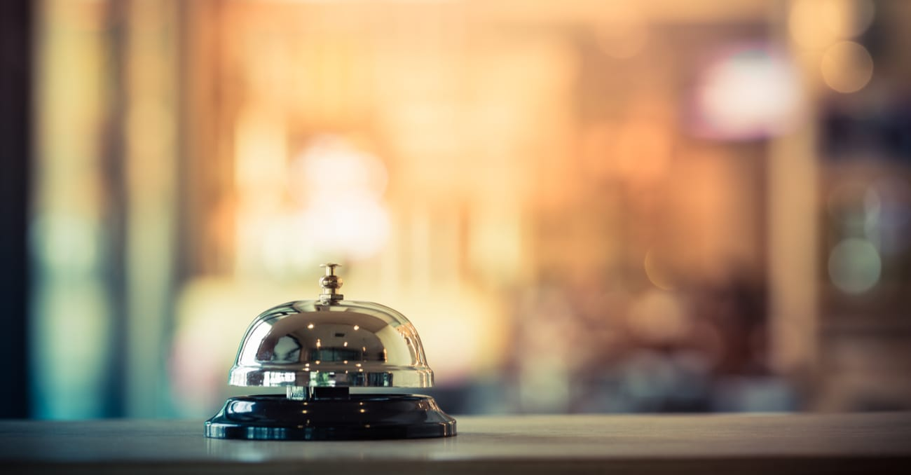 Bell on hotel desk in Thailand